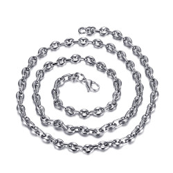 COH0022 BOBIJOO Jewelry Chain Necklace Coffee bean Steel Silver Mesh French