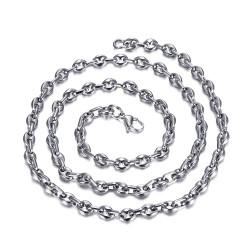 COH0022 BOBIJOO Jewelry Collar de Cadena del grano de Café de Plata de Acero de Malla de francés