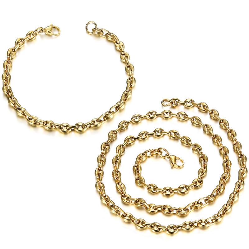 COH0023 BOBIJOO Jewelry Ensemble Chaîne + Bracelet Grain de Café Acier Or Maille Française
