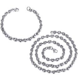 Set catena + bracciale chicco di caffè in acciaio argento bobijoo