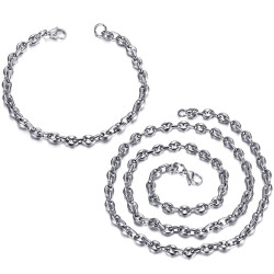COH0024 BOBIJOO Jewelry Set Chain + Bracelet Coffee Bean Steel Silver