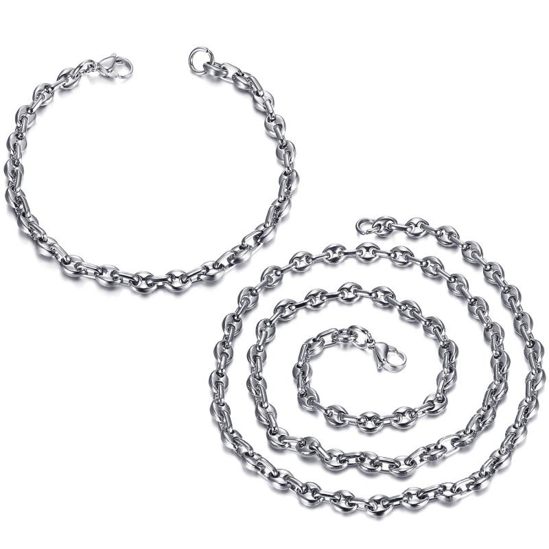 COH0024 BOBIJOO Jewelry Ensemble Chaîne + Bracelet Grain de Café Acier Or Maille Française