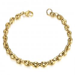 BR0277 BOBIJOO Jewelry Stahl und Gold Kaffeebohnen Armband 21cm, 4 Größen zur Auswahl