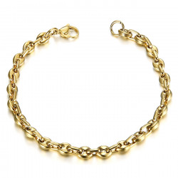 BR0277 BOBIJOO Jewelry Steel and Gold Coffee Bean Bracelet 21cm, 4 sizes to choose from