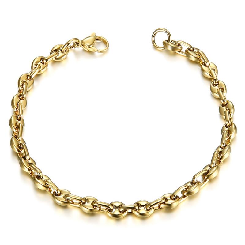 BR0277 BOBIJOO Jewelry Bracelet Grain de Café Homme Femme Acier Or