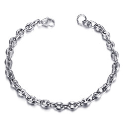 BR0278 BOBIJOO Jewelry Steel Coffee Bean Bracelet 21cm, 4 sizes to choose from