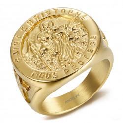 BA0378 BOBIJOO Gioielli Anello anello con Castone, San Cristoforo Acciaio Oro