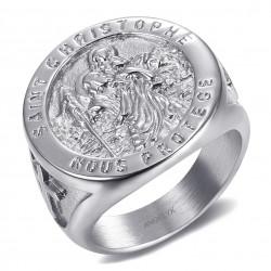BA0379 BOBIJOO Gioielli Anello anello con Castone, San Cristoforo in Acciaio Argento