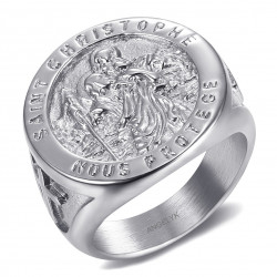 BA0379 BOBIJOO Jewelry Ring Signet ring, Saint Christopher Steel Silver