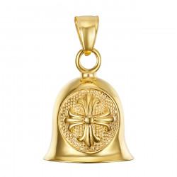 MOT0025 BOBIJOO Jewelry Glocke glücksbringer, Motorrad Biker Kreuz Lilien Templar Gold