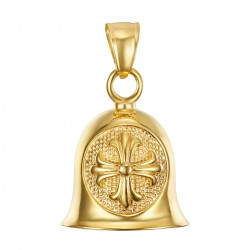 MOT0025 BOBIJOO Jewelry The bell brings good luck Motorcycle Biker Croix de Lys Templar Gold