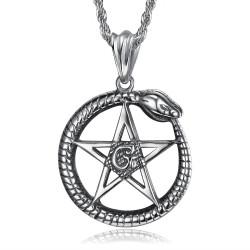 PE0279 BOBIJOO Jewelry Pendant Ouroboros Cycle of life Pentagram Steel