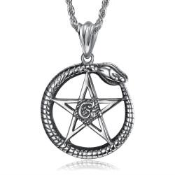 PE0279 BOBIJOO Jewelry Pendentif Ouroboros Cycle de la vie Pentagramme Acier