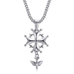 PEF0063 BOBIJOO Jewelry Anhänger Kreuz Huguenote Protestantische Frau und Kind