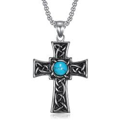 PE0290 BOBIJOO Jewelry Colgante de Cruz latina Celta Bretón Turquesa de Acero inoxidable