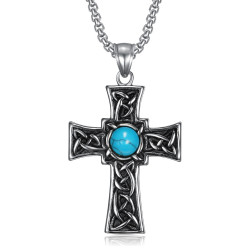 PE0290 BOBIJOO Jewelry Pendant Latin Cross Celtic Breton Turquoise stainless Steel