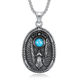 PE0289 BOBIJOO Jewelry Pendentif Médaillon Oval Aigle Turquoise Acier 316L
