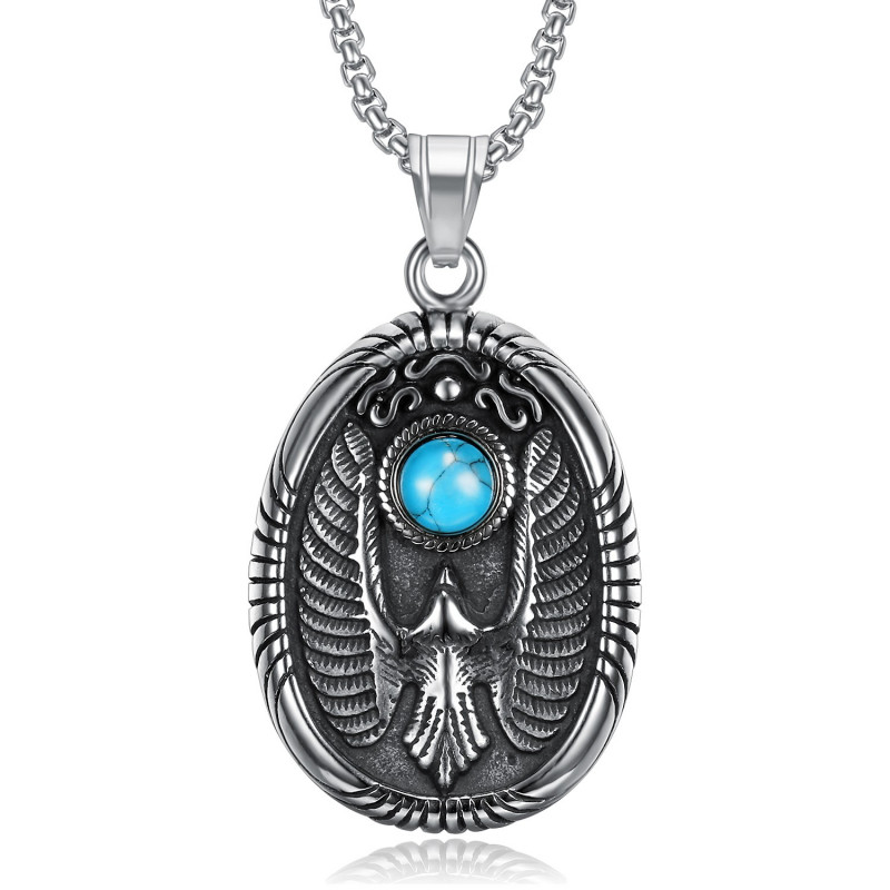 PE0289 BOBIJOO Jewelry Colgante Medallón Oval Águila de color Turquesa Acero 316L