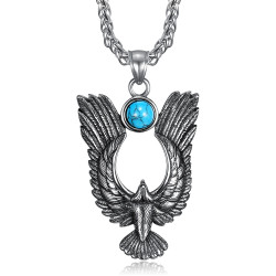PE0287 BOBIJOO Jewelry Pendant Royal Eagle Sun Turquoise 316L Steel