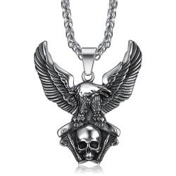 PE0285 BOBIJOO Jewelry Colgante de un Águila en el Motor V-Twin Cráneo del Motorista Triker