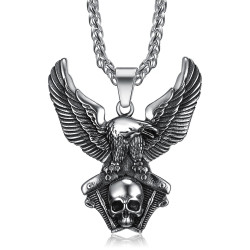 PE0285 BOBIJOO Jewelry Pendant of an Eagle on Engine V-Twin Skull Biker Triker
