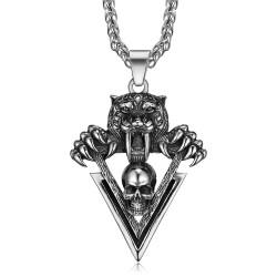 PE0284 BOBIJOO Jewelry Pendentif Tigre Griffes Crâne Biker Triker