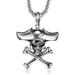 PE0283 BOBIJOO Jewelry - Anhänger Piraten totenkopf Schädel, Schienbeine Biker Triker