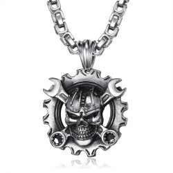 PE0280 BOBIJOO Jewelry Pendant Mechanic Motorcycle Biker Skull Large Chain