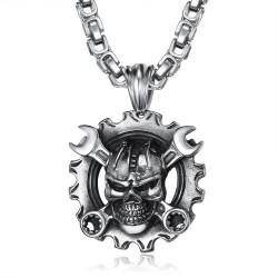 PE0280 BOBIJOO Jewelry Pendentif Mécanicien Moto Biker Skull Grosse Chaîne