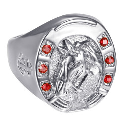 BA0381 BOBIJOO Jewelry Steel Horseshoe Ruby Camargue Voyageur Ring