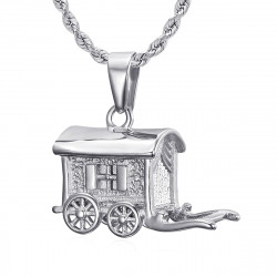 PE0197S BOBIJOO Jewelry Pendentif Collier Roulotte Caravane Voyageur Acier 316L