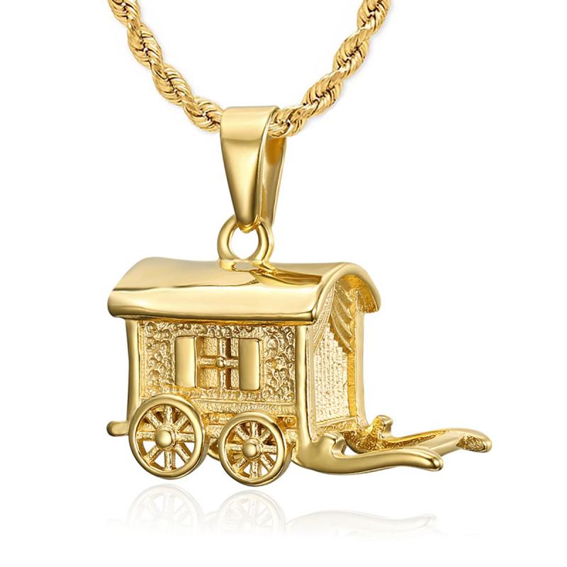 PE0197 BOBIJOO Jewelry - Anhänger-Halskette Wohnmobil-Wohnwagen-Reisender Stahl-Gold