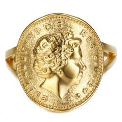 BAF0042 BOBIJOO Jewelry Anillo Curva 1 Centavo Isabel II de Acero Brillante de Oro