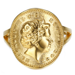 BAF0042 BOBIJOO Jewelry Ring Curved One 1 Penny Elizabeth II Steel Bright Gold