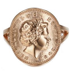 BAF0043 BOBIJOO Gioielli Anello Curva 1 Centesimo Elisabetta II in Acciaio Oro Rosa Lucido