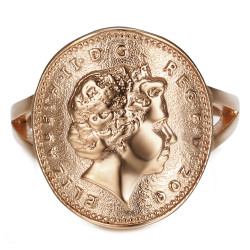 BAF0043 BOBIJOO Jewelry Ring Curved One 1 Penny Elizabeth II Steel Rose Gold Shiny