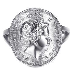 BAF0044 BOBIJOO Jewelry Anillo Curva 1 Centavo Isabel II de Acero de Plata Brillante