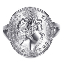 BAF0044 BOBIJOO Jewelry Ring Curved One 1 Penny Elizabeth II Steel Bright Silver