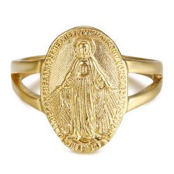 BAF0045 BOBIJOO Gioielli Anello Curvo Vergine maria Medaglia Miracolosa 1830 Acciaio Oro