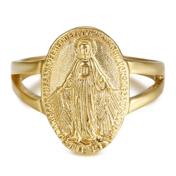 BAF0045 BOBIJOO Jewelry Ring Waisted Virgin mary Miraculous Medal 1830 Steel Gold
