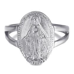 BAF0046 BOBIJOO Gioielli Anello Curvo Vergine maria Medaglia Miracolosa 1830 in Acciaio Argento