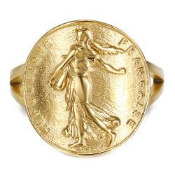 BAF0047 BOBIJOO Jewelry Anillo Pieza Curva Franco Sembrador Marianne de Acero de Oro