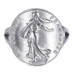 BAF0048 BOBIJOO Jewelry Anillo Pieza Curva Franco Sembrador Marianne de Plata de Acero