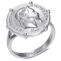 BAF0052 BOBIJOO Jewelry Bague Chevalière Sertie Griffée Napoleon III Pièce Louis Argent