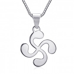 PE0182S BOBIJOO Jewelry Anhänger Man Cross Baskisch Lauburu Stahl Silber