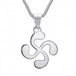 Croix basque bijoux, Pendentif collier Acier argent et Chaîne bobijoo