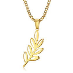 PE0293 BOBIJOO Jewelry Acacia Tweety Leaf Pendant and Gold Freemasonry