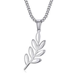 PE0294 BOBIJOO gioielli ciondolo foglia acacia Titi e massoneria argento