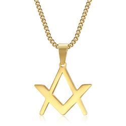 PE0297 BOBIJOO Jewelry Discreto Masonería Colgante Brújula Cuadrado Oro