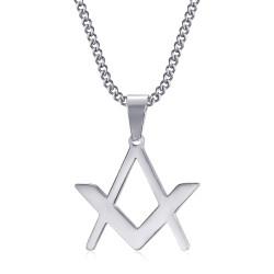PE0298 BOBIJOO Jewelry Diskrete Freimaurer Anhänger Kompass Quadrat Silber